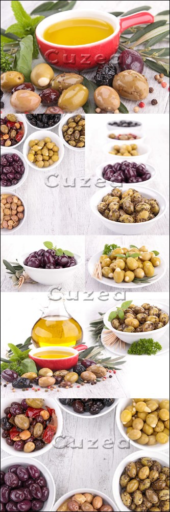 Assorment of olives and oil - Stock photo