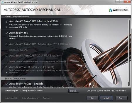 Autodesk AutoCAD Mechanical 2014 ( Build I.18.0.0, RUS/ENG, AIO )