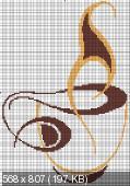 """Оригинал - Схема вышивки  """"Чашка кофе """" - Схемы вышивки - Эльфик - Авторы - Портал  """"Вышивка крестом """" ."""