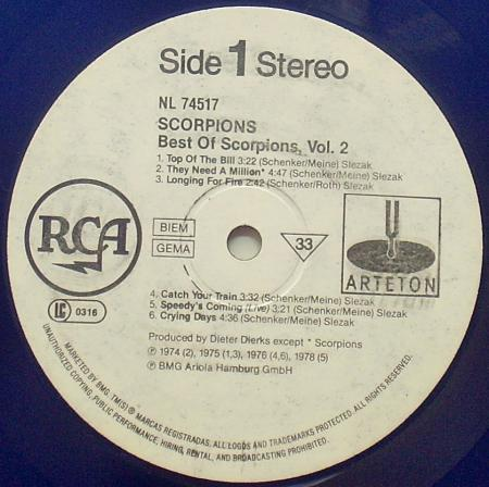 SCORPIONS - Best of Scorpions vol 2 (1984), vinyl-rip
